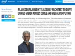 Intel宣布AMD前首席架构师Raja正式加盟